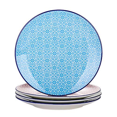 Vancasso Speiseteller Porzellan, Macaron 4 teilig Flachteller bunt, Geschirr Tellerset Ø 27 cm Frühstückteller Essteller
