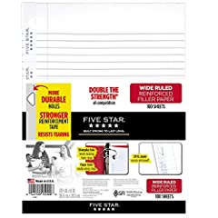 Five Star Reinforced Filler Paper is double the strength of the competition and stays securely in your binder More durable, patent pending triangular holes and stronger reinforcement tape resist tearing from rings Heavyweight, 20 pounds paper resists...