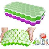 Ice Cube Trays, Ouddy 2 Pack Silicone Ice Cube Molds with Removable Lid, Totally 74-Ice Trays for Whiskey, Cocktail, Stackable Flexible - Green + Purple