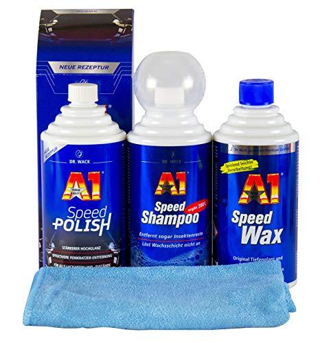 A1 DR. WACK Speed Polish & Speed Wax Plus 3 & Speed Shampoo & Mikrofasertuch
