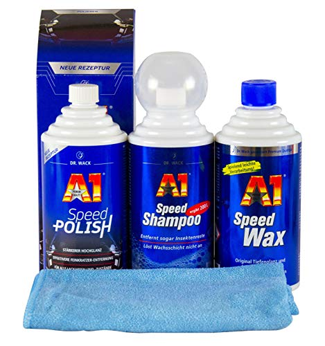 A1 DR. WACK Speed Polish & Speed Wax Plus 3 & Speed Shampoo & Mikrofasertuch