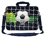 Meffort Inc Custom/Personalized Laptop Bag with Side Pocket & Shoulder Strap for Notebook Ultrabook Chromebook, Customized Your Name (14 Inch, Soccer Design)