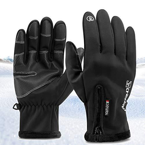 Kasimir Kalte Handschuhe Touchscreen Handschuhe Outdoor Winterhandschuhe Dreifach Wasserfeste Winddicht Anti-Rutsch Verschlussclips Fahren Radfahren Herren Frauen Schwarz L