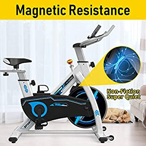 leikefitness Indoor Cycling Bike Stationary with Magnetic Resistance Easy to Assemble Ultra-Quiet Exercise Bike with LCD Display for Home Cardio Workout 80499(WHITE)