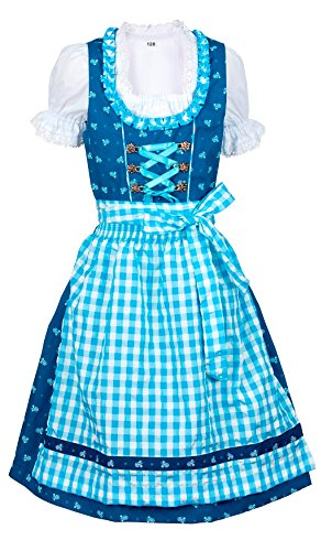 Ramona Lippert Ramona Lippert® Kinderdirndl ?Chrissi? (Gr. 98-104) blau/dunkelblau Kurzarm, 3 TLG. Dirndl-Set für Mädchen