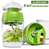 ELIRIVAWET Neueres Modell 5 in1 Spiralschneider Hand für Gemüsespaghetti, Gemüse Spiralschneider mit Behälter, Gemüsehobel für Karotte, Gurke, Kartoffel,Kürbis, Zucchini, Zwiebel