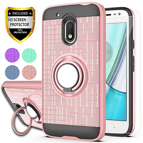 YmhxcY Moto G4 Play Case,Moto G Play 4th Generation Case,[Not fit Moto G4],with HD Screen Protector, 360 Degree Rotating Ring & Bracket Dual Layer Resistant Back Cover for Moto G4 Play-ZH Rose Gold