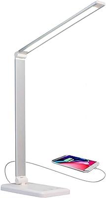 Lámpara Escritorio LED,Lámpara de Mesa USB regulable Recargable (3 Modos, 5 Niveles de Brillo, Temporizador de 30 minutos y 1 hora, Control Táctil) [Clase de eficiencia energética A+] (Plata)