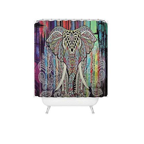 KTTO Bunter elefanter bedruckter wasserdichter Duschvorhang aus Polyester mit 12 Haken 240X200cm