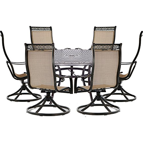 Hanover MANDN7PCSWRD6 Manor 7-Piece Set with Six Swivel Rockers and a Large 60 in. Cast-top Dining Table Outdoor Furniture, Tan