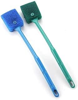 水槽掃除ツールロングハンドル 水槽用ブラシロングハンドル 水槽スクレーパー ブラシなクリーニングツール 2本 青+緑
