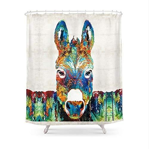 WIXIJAWR Duschvorhang Farbe Esel Kunst Badezimmer Wasserdicht Und Mildewproof,180X200Cm