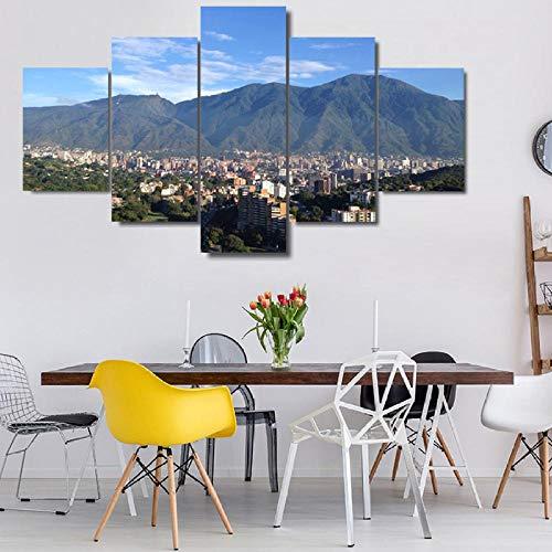 Loveygg Cuadro sobre Lienzo 5 Piezas Ávila Caracas Montaña Impresión De La Lona Pintura Arte De La Pared Cartel Decoración Moderna Sala De Estar Imágenes,100X55Cm Accesorios del Hogar