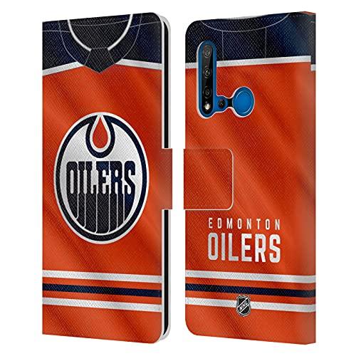 Head Case Designs Licenciado Oficialmente NHL Jersey Aceiteras Edmonton Carcasa de Cuero Tipo Libro Compatible con Huawei P20 Lite (2019)