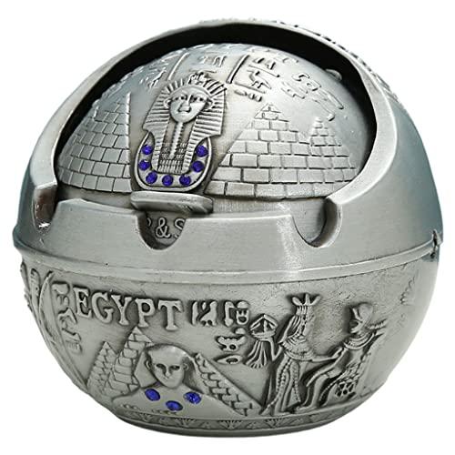 MagiDeal Portacenere Antivento Anti-Caduta in Metallo con Coperchio Creativo Vassoio di Cenere Unico per La Decorazione delle Sigarette al Coperto - Antico Egitto Verde