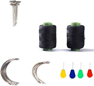 43 Pcs Hair Weave Sewing Needle and Thread Set,2 Hair Sewing Black Thread,20Wig T Pins, C Curved Needles and Needle Threader for Wig Making, Blocking Knitting,Modelling and Crafts (2 Rolls+20 T+ 20C)