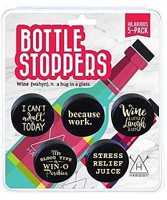 Hawwwy Pickle Wine Stopper, Funny Silicone Bottle Stopper Fun Reusable Wine Saver, Preserver, Wine Gift Ideas Men Women Mom Dad Friend Co Worker Beverage Unique Set Decorative Cute
