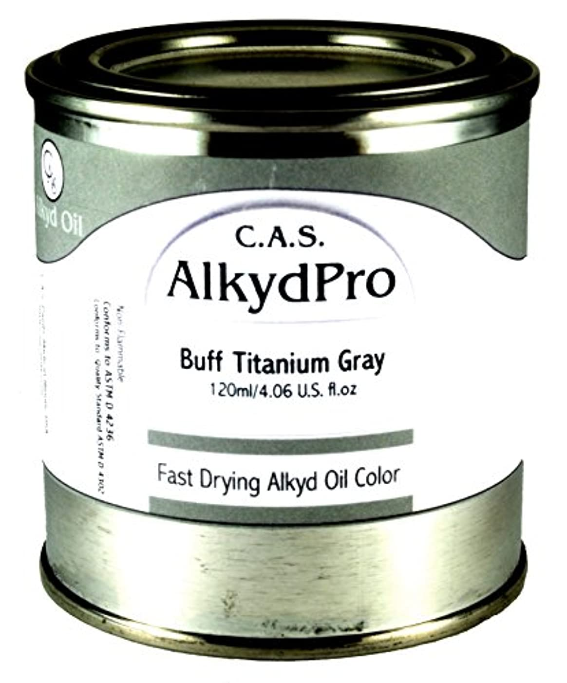 C.A.S. Paints AlkydPro Fast-Drying Oil Color Paint Can, 8-Ounce, Buff Titanium Gray