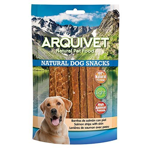 Arquivet Barritas de salmón con piel - Snacks naturales para perros - Chuches para perros - Golosinas para perros - Alimentación y comida para perros - Snacks caninos - 100 g