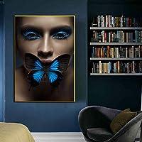 キャンバスにプリント北欧アートフィギュア蝶抽象的な壁アートプリントポスターリビングルームの壁の写真家の装飾20x25cmフレームレス