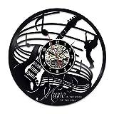 WERWN Reloj de Pared de música de Guitarra Retro diseño Moderno Instrumento Musical Reloj de Vinilo Vintage Reloj de Bolsillo decoración