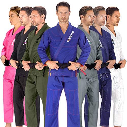 Elite Sports BJJ GI for Men IBJJF Kimono BJJ Jiujitsu GIS W/Preshrunk Fabric & Free Belt (See Special Sizing Guide) (Blue, A1)