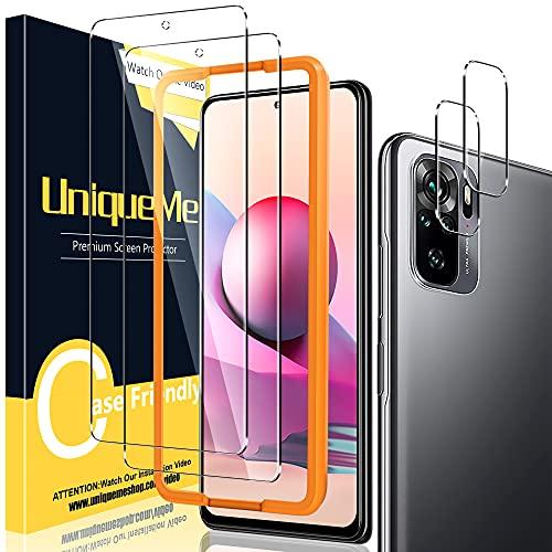 UniqueMe [4 Pezzi] Compatibile con Xiaomi Redmi Note 10 4G/ Note 10s Vetro Temperato,(non applicabile xiaomi note 10 5G) 2 Pezzi Pellicola Protettiva, 2 Pezzi Pellicola Fotocamera, Durezza 9H vetrino