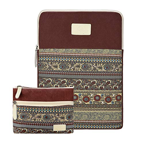 CASE STAR 14-15 Inch Laptop Sleeve Bohemian Canvas Bag Compatible 15 Inch New MacBook Pro with Touch Bar A1707 | A1990 14 Inch ThinkPad Laptop with Small Bag Case (Wine red)