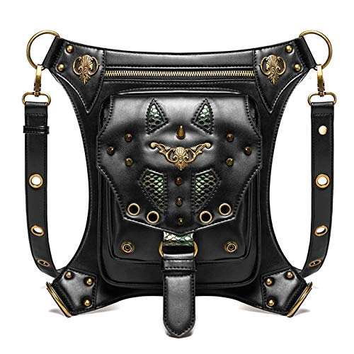 Riñonera De Piel Para Moto Cinturón de la cintura de la cintura Hombro de la cintura Fanny Packs Steampunk Bag Purse Bolso Unisex Punk 3 maneras Multiuso Bolsa de pierna táctica Adecuado Para Montar A