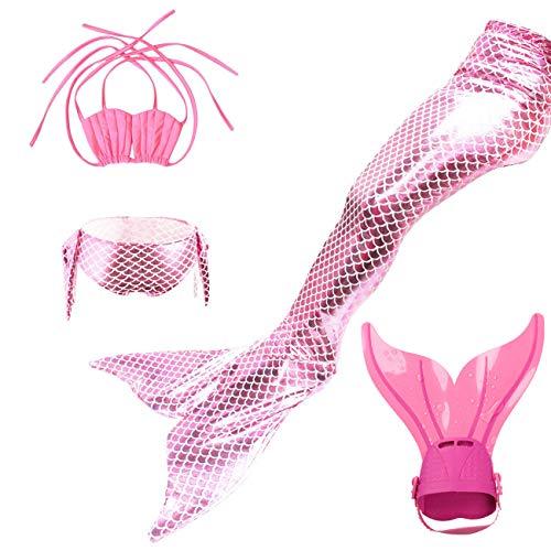 ShiyiUP Costume da Bagno Allacciato al Collo 4 Pezzi con Coda a Sirena e Pinne Set Bikini da Ragazza