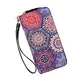 lunga clutch portafoglio donna doppia cerniera boho portamonete borsa per telefono grande capacità portafoglio con slot per schede multiple portafoglio da polso (boho-1631)