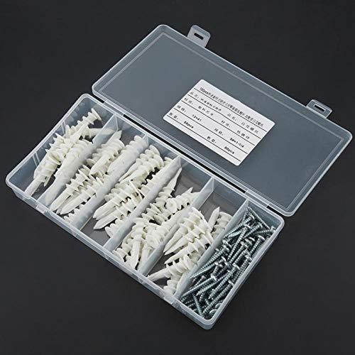 LANTRO JS - Kit de tornillos de pared de tubo de anclaje de tapón de expansión autorroscante de 100 piezas