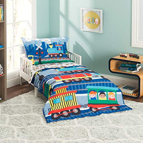 EVERYDAY KIDS 4 Piece Toddler Bedding Set -Choo Choo Train- Includes Comforter, Flat Sheet, Fitted Sheet and Reversible Pillowcase