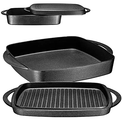 Bruntmor Pre-Seasoned Square Cast Iron Large Baking Pan. Cookware Baking Dish With Griddle Lid 2-in-1 and Double Handle for Casseroles Lasagna, 10-inch Multi Baker for Oven and Stove, Black