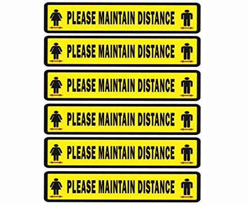 CLEVER SIGNS Social Distancing Sign, 12' x 3.5', 6 Decals Per Pack, Social Distance Floor Stickers, Maintain Distance Tape, Stay Here, Stand Here Floor Sticker, Social Distancing Floor Stickers