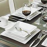 MALACASA, Serie Carina, 60 tlg. Cremeweiß Porzellan Geschirrset Kombiservice Tafelservice mit je 12 Kaffeetassen, 12 Untertassen, 12 Dessertteller, 12 Suppenteller und 12 Flachteller - 8