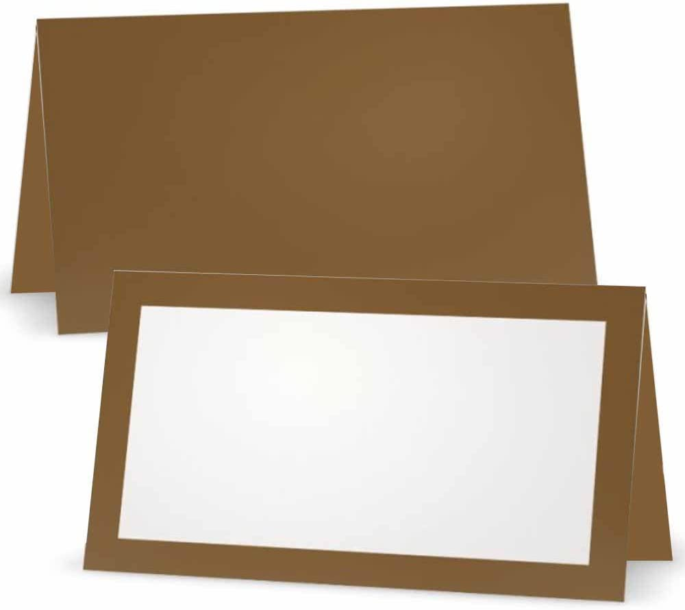 Tawny Brown San Francisco Mall Place Cards - Flat or overseas 50 B Tent 10 White Pack