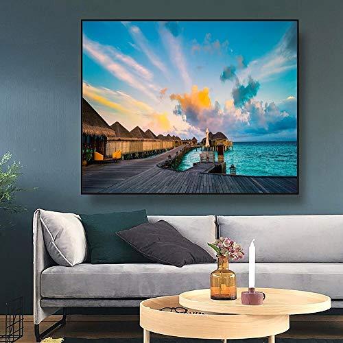 LPaWD Modern Seaside Landschap Canvas Schilderij Art Print Nordic Poster Muur Foto Voor Woonkamer Woonkamer Kunstdecoratie A2 60x80cm