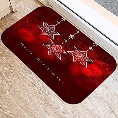 DQLREW Felpudo 3D impresión Campana de Navidad roja Patrón de Nieve Alfombras de Puerta de Entrada de Cocina Alfombra de Franela Felpudo Piso Interior Alfombra Antideslizante-20x32inch
