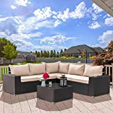 Kullavik Outdoor Patio Furniture Set 6 Pieces Sectional Rattan Sofa Set Brown PE Rattan Wicker Patio Conversation Set with 5 Sand Seat Cushions and 1 Tempered Glass Table