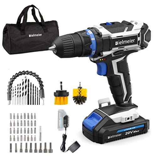 Bielmeier Cordless Drill Set, 20V MAX Lithium-Ion Power Drill Cordless, Electric Drill with Variable...