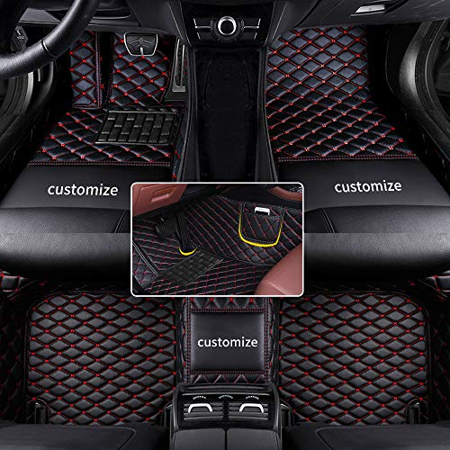 Muchkey car Floor Mats fit for 95% Custom Style Luxury Leather All Weather Protection Floor Liners Full car Floor Mats Black-Red