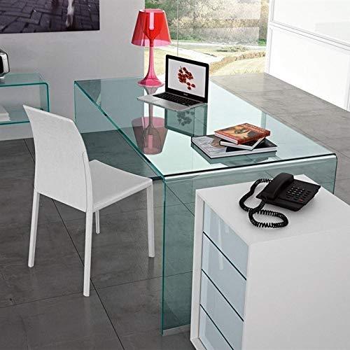 HABITMOBEL Mesa Oficina Escritorio Cristal Curvado, 150x80 cms