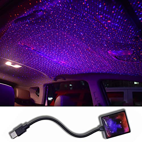 Striscia Led Autocar Roof Star Light Interior Mini Led Atmósfera Estrellada Ambient Proyector Luces Usb Auto Decoración Noche Galaxy Lámpara Redandblue