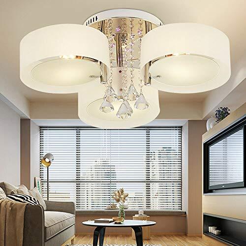 Lámpara de techo de cristal con 3 focos y 3 bombillas LED E27