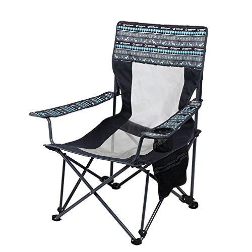 LELI Lightweight Plein Air Pliant Chaise De Camping,Compact Porte-gobelet Accoudoir Pêche Chaise Tabouret pour Camping Randonnée Plage Jardin-A 111x61x91cm(44x24x36inch)