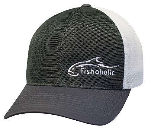 Fishoholic Fishing Hat 8 Color Variations & 3 Sizes Snapback & Flexfit (R) TM Great Fishing Gift for Fishaholic (Grey, Large/X-Large)