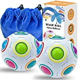 Rainbow Puzzle Ball with 11 Rainbow Colors, Puzzle Ball with Pouch Color-Matching Puzzle Game Fidget Toy, Stress Reliever Rainbow Puzzle Ball Brain Teaser for Kids and Adults, Set of 2