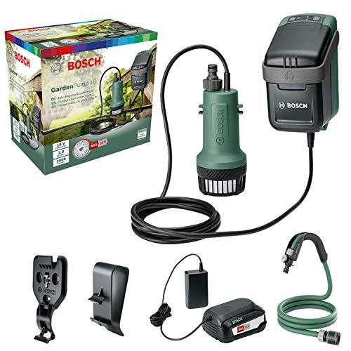Bosch Tauchpumpe GardenPump 18 (1x Akku, 18-Volt-System, max. Länge des Gartenschlauchs: 25 m, im Karton)