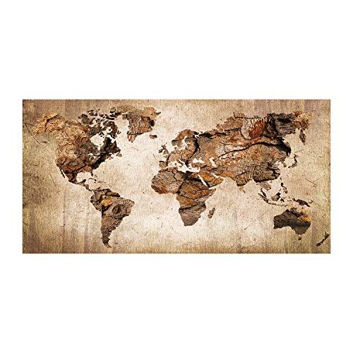 Tulup Glas-Bild Wandbild aus Glas - Wandkunst - Wandbild hinter gehärtetem Sicherheitsglas - Dekorative Wand für Küche & Wohnzimmer 140x70 - Landkarten & Flaggen - Weltkarte Holz - Braun